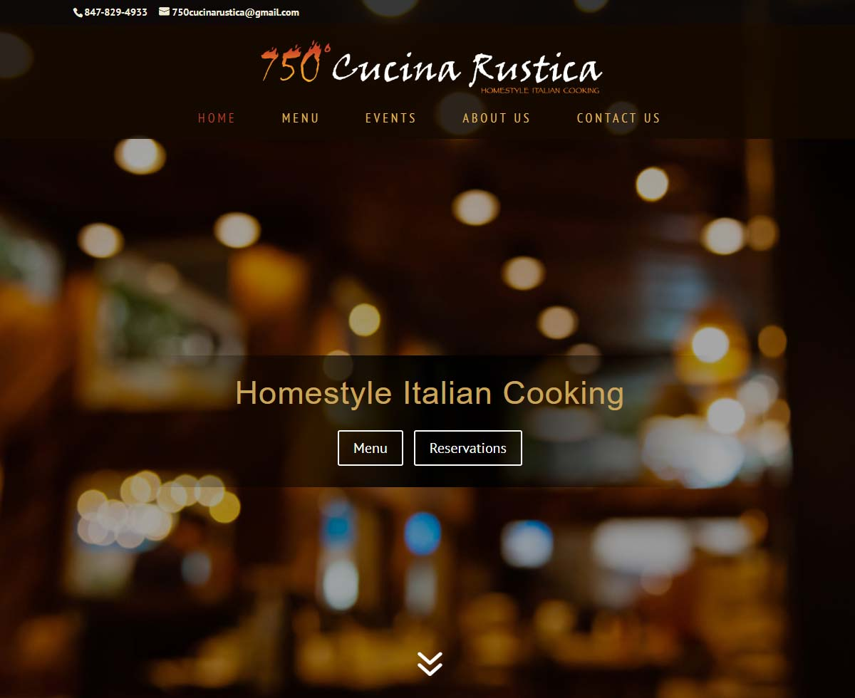 Displaying the homepage image of one of our web design projects: 750 Cucina Rustica