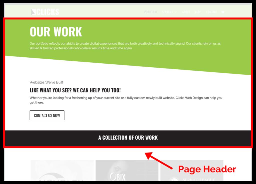 clicks acf divi page header