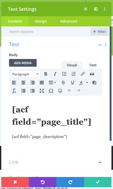 text field with acf shortcode