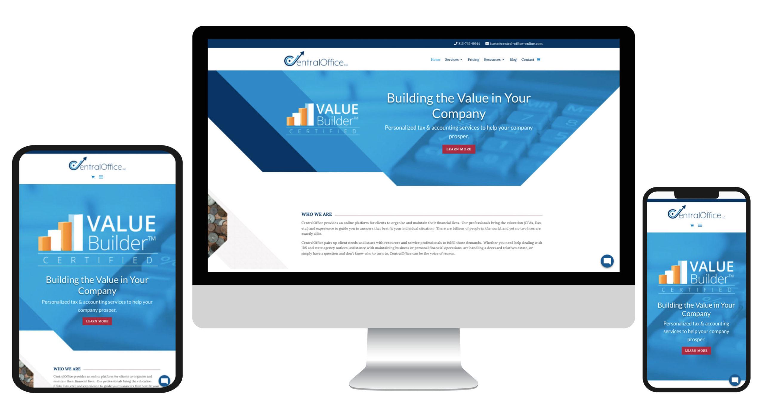 CentralOffice LLC responsive website mockup