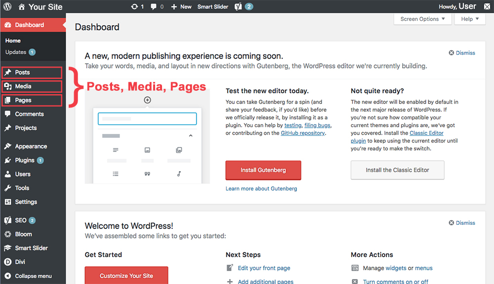 navigation dashboard on WordPress