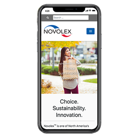 Novolex Website at on a mobile phone