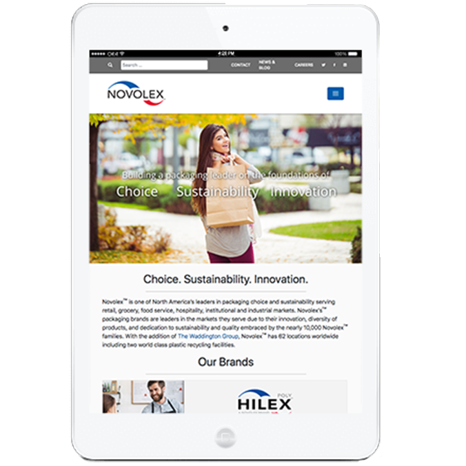 Novolex website on a tablet