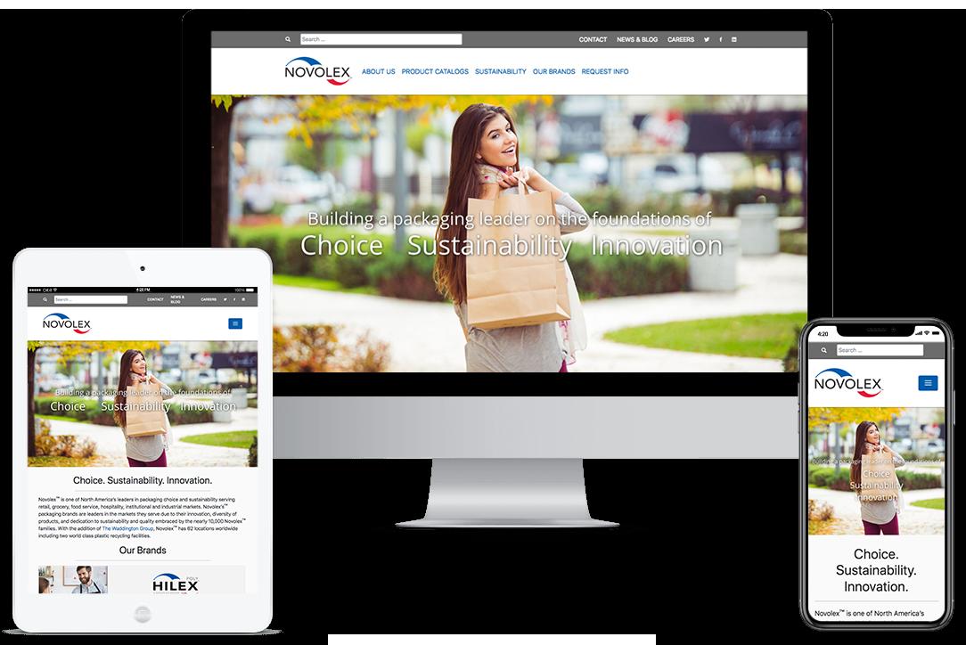 Mockup of Novolex website on different devices