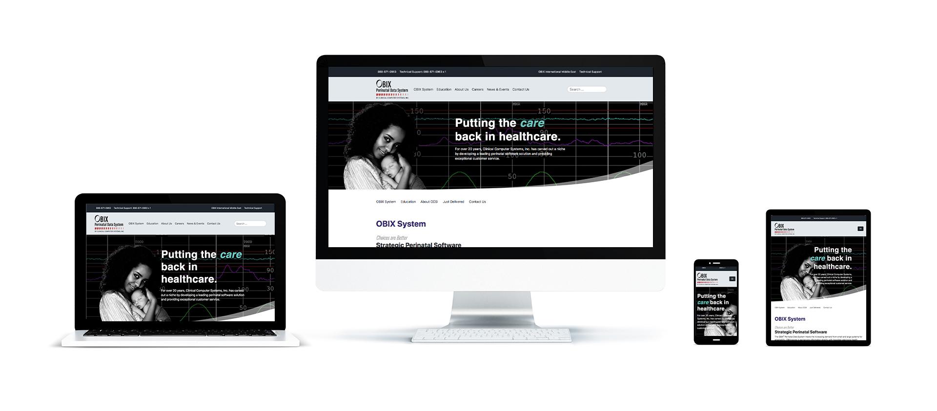 Screenshot of obix.com website created by Clicks Web Design Inc.